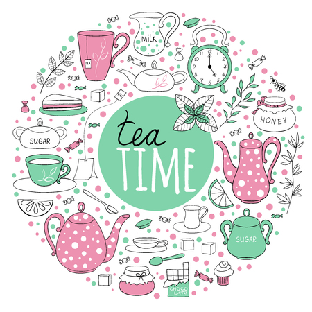 confiture: Set of tea time. Teapots, cups, leaves, cupcakes and sweets drawn in a circle. Vector illustration hand drawn in cartoon style. Illustration