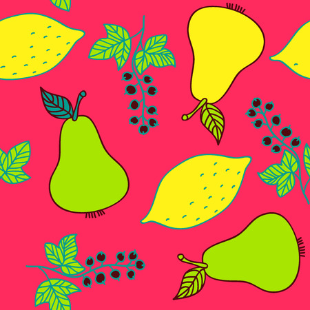 red currant: Seamless pattern of currant, pear and lemons. Colorful fruit and berries on red background. Vector image drawn by hand in cartoon style. Illustration
