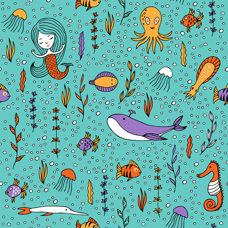 life style: Seamless pattern marine life. Fish, algae, sea animals, mermaid and bubbles drawn by hand in cartoon style on turquoise background. Illustration