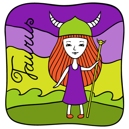 Zodiac signs Taurus. Vector illustration of the girl drawn by hand in cartoon style.