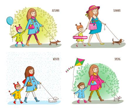 abdomen yellow jacket: Pregnant woman, girl and dog. Four seasons. Spring, summer, autumn, winter Vector illustration in cartoon style