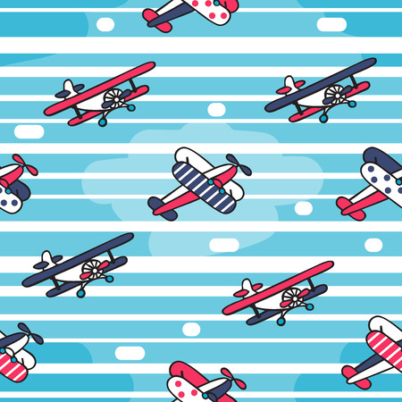 Vector seamless pattern in retro style. Colorful vintage airplanes on the background of cloudy sky. Illusztráció