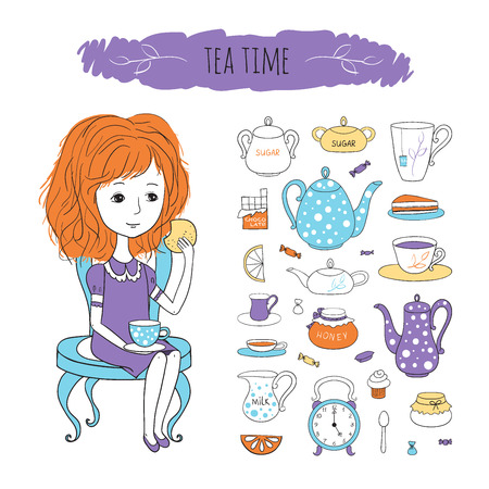 chair cartoon: Tea time set. Sweet girl with tea and biscuits sitting on chair. Vector character and tea accessories drawn by hand in cartoon style.