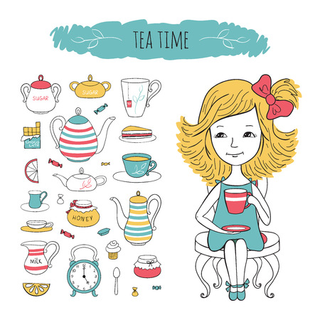 confiture: Tea collection and girl on chair. Vector set tea time illustration. Sweet girl and tea accessories drawn by hand in cartoon style. Illustration