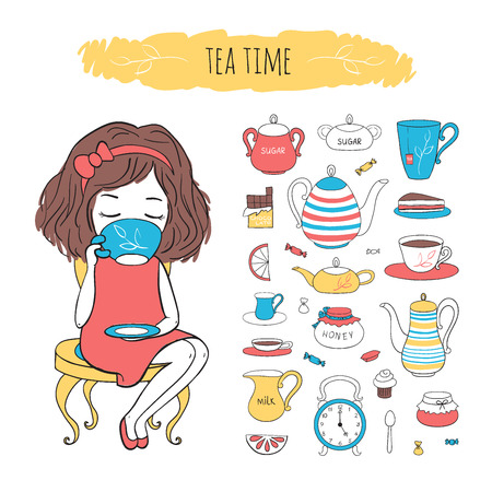 confiture: Tea time collection. Cute girl sitting on chair and drinking tea. Vector set tea accessories. Illustration drawn by hand in cartoon style. Illustration