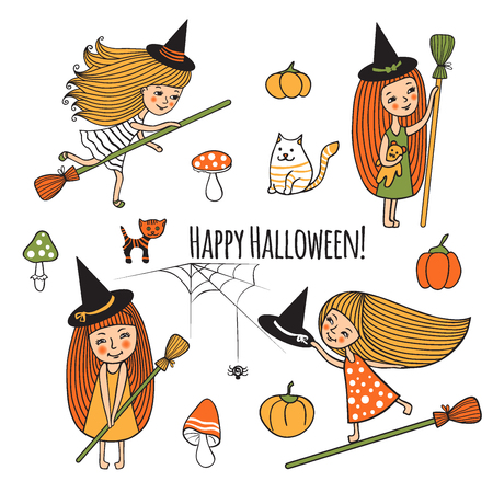 Happy Halloween. Vector illustration of cute girls witch costume. Cartoon set design for Halloween. Children, mushrooms, cat, kitty, pumpkin, spider. Isolated characters on white drawn by hand. Illustration