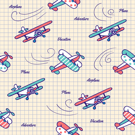 Colorful vintage planes drawn pen in a notebook. Vector seamless pattern in vintage style. Cute Doodle aircraft. Illustration