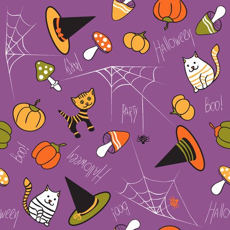 brindled: Halloween seamless pattern. Mushrooms, cat, kitty, pumpkin, spider and web on purple background