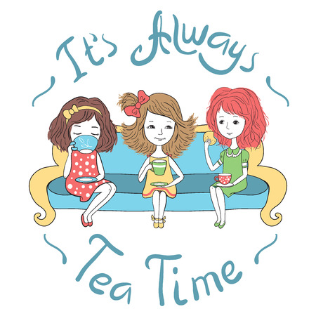 bachelorette: The tea party. Three cute girls sitting on sofa and drinking tea. Bachelorette party, conversation. Vector characters in romantic style.