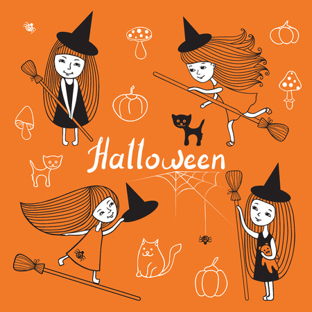 niños actuando: Vector conjunto de traje lindo de la bruja. Vectores