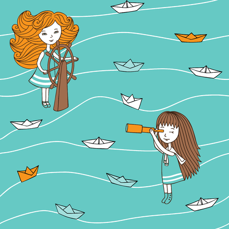 cruise cartoon: Seamless pattern in vintage style. Cute girls and paper boats hand-drawn in a cartoon style. Vector characters are drawn by hand.