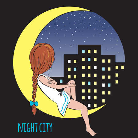 Girl sitting on the moon. The skyscrapers and the light in the Windows. Night city and the stars.