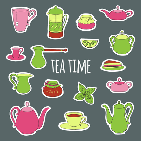 confiture: Set for tea party. Teapots, cups and mugs, jam and honey, tea and coffee, lemon and mint. Cut objects on a gray background. Vector illustration. Isolated objects hand-drawn in a cartoon style.