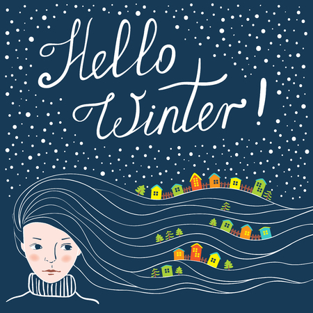 snowbank: Greeting card on the theme of winter. Colored houses in the snow. Long hair like snow. Hello winter.