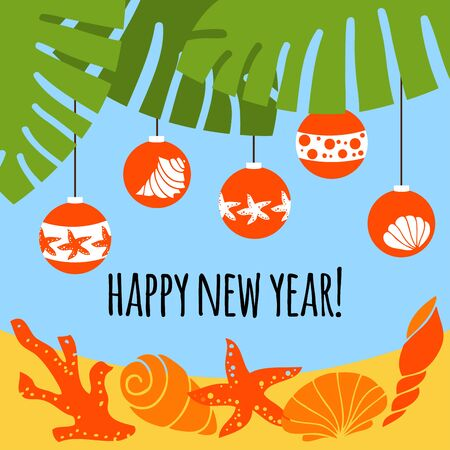 Greeting card happy new year. Christmas balls on the palm. Seashells, coral and starfish on the sand.