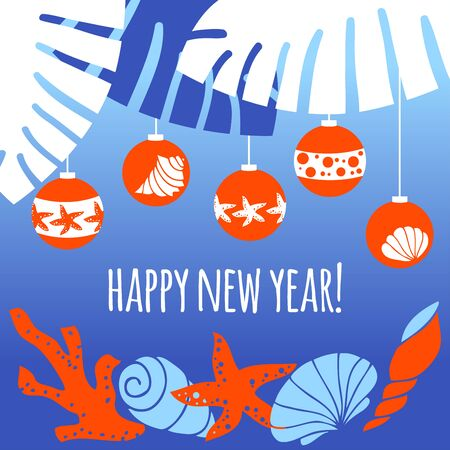 Greeting card happy new year. Christmas balls on the palm. Corals, shells and starfish on a blue background. Illustration