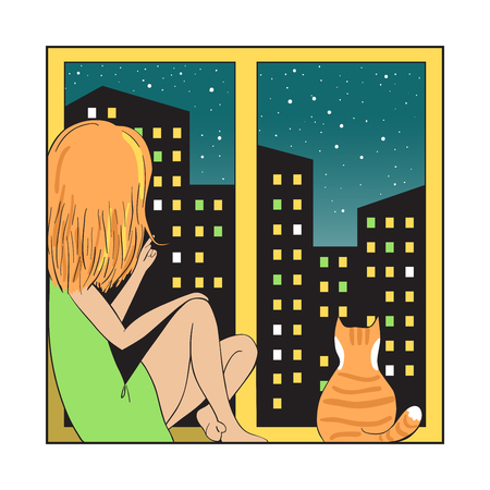 comfort: Night city and girl with cat. Illustration