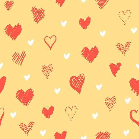 Romantic pattern with hearts. Elements hand-drawn style sketch. Perfect for holidays decoration Valentines day, packaging, print on fabrics and other. Red and white hearts on yellow background