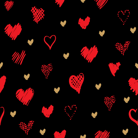Romantic pattern with hearts. Elements hand-drawn style sketch. Perfect for holidays decoration Valentines day, packaging, print on fabrics and other. Red and gold hearts on black background Фото со стока