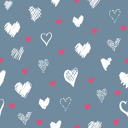 心でロマンチックなパターン。要素スタイルの手描きスケッチ。休日の装飾に最適な包装、バレンタインデーを生地やその他の印刷します。灰色の 写真素材