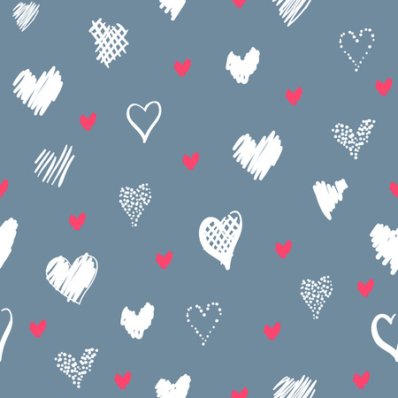 Romantic pattern with hearts. Elements hand-drawn style sketch. Perfect for holidays decoration Valentines day, packaging, print on fabrics and other. Red and white hearts on grey background Фото со стока