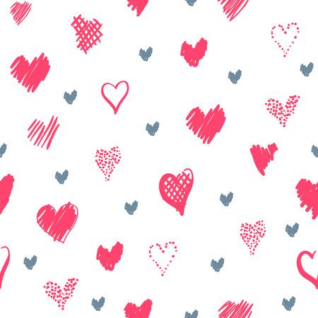 心でロマンチックなパターン。要素スタイルの手描きスケッチ。休日の装飾に最適な包装、バレンタインデーを生地やその他の印刷します。白地に