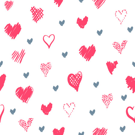 Romantic pattern with hearts. Elements hand-drawn style sketch. Perfect for holidays decoration Valentines day, packaging, print on fabrics and other. Red and grey hearts on white background Stock Photo
