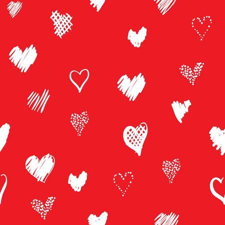 心でロマンチックなパターン。要素スタイルの手描きスケッチ。休日の装飾に最適な包装、バレンタインデーを生地やその他の印刷します。赤の背 写真素材