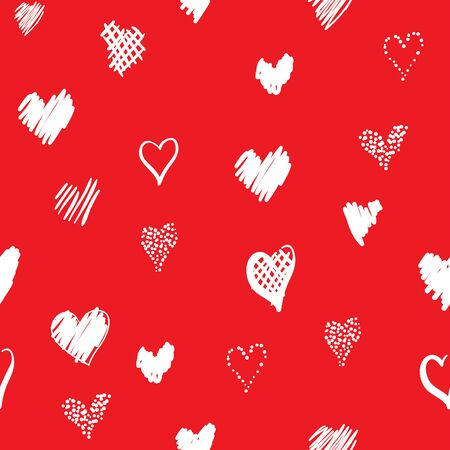 Romantic pattern with hearts. Elements hand-drawn style sketch. Perfect for holidays decoration Valentines day, packaging, print on fabrics and other. White hearts on red background Stock Photo