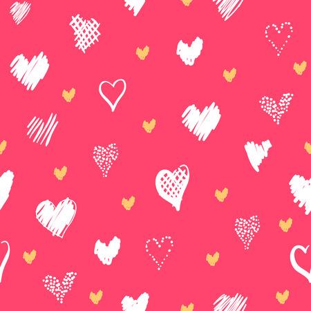 心でロマンチックなパターン。要素スタイルの手描きスケッチ。休日の装飾に最適な包装、バレンタインデーを生地やその他の印刷します。ピンク 写真素材