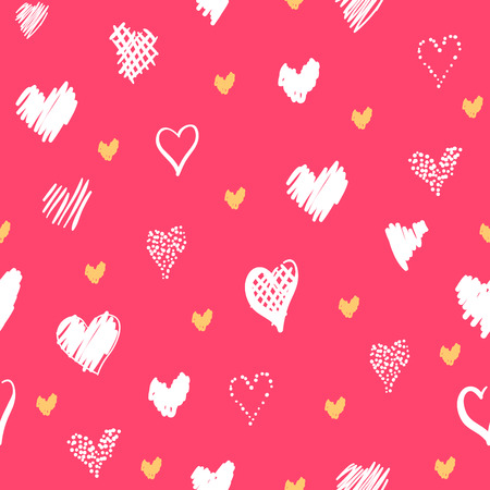 Romantic pattern with hearts. Elements hand-drawn style sketch. Perfect for holidays decoration Valentines day, packaging, print on fabrics and other. White and yellow hearts on pink background Stock Photo