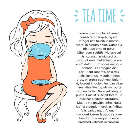 Girl drinking tea. Tea time template.