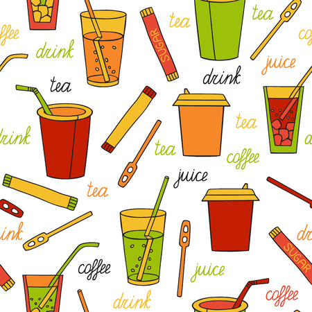 savour: Seamless Pattern with drinks Illustration