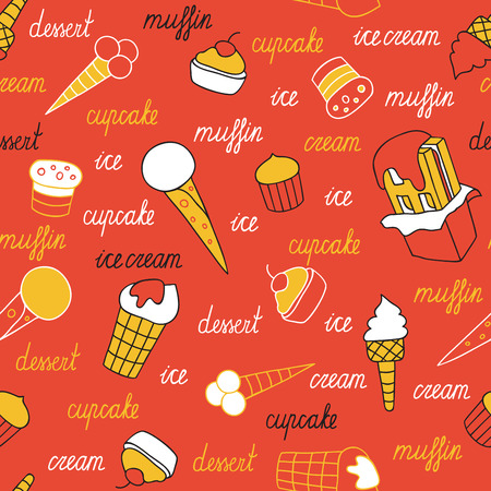 Sweets on a red background