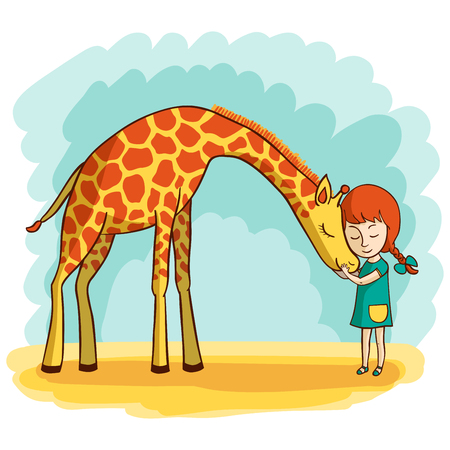 Girl and giraffe Illustration