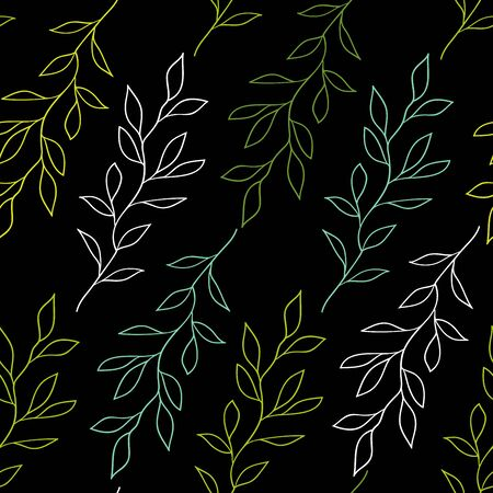 Black seamless pattern with branches
