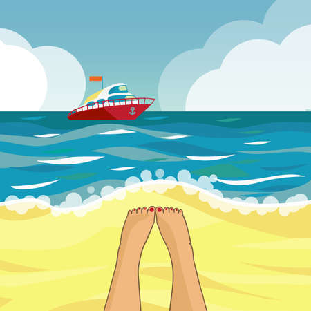 Beach and boat. Illustration