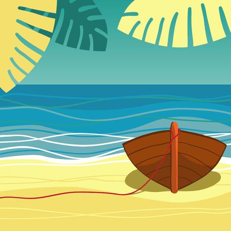 Boat on beach. Illustration