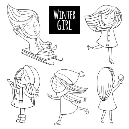 Snow fun set. Cute girls play in the winter. Sleds and skates, snowflakes and snowballs. Vector illustration in cartoon style.