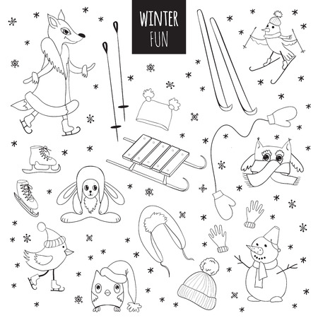 vector set of winter fun cute animals and birds hand drawn stock