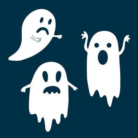 Halloween conjunto de fantasmas en la oscuridad.