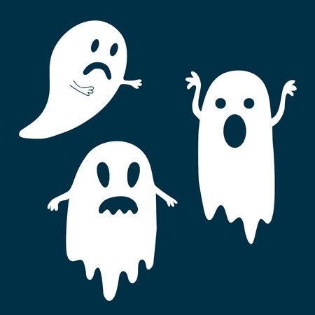Halloween set of ghosts on dark