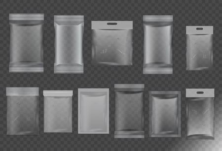 Food packaging,transparent plastic bag,vector set mock up