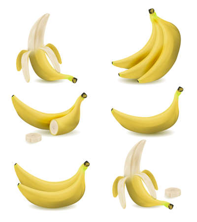 Set of realistic illustration bananas.Peeled banana, bananas isolated on white