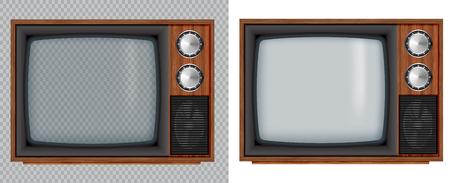 Vieille télévision en bois. Télévision rétro vectorielle maquette avec écran en verre transparent isoler sur fond blanc et transparent.