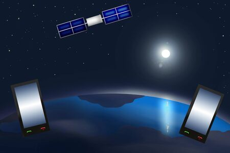 via: Phone communications via satellite on the background of the space