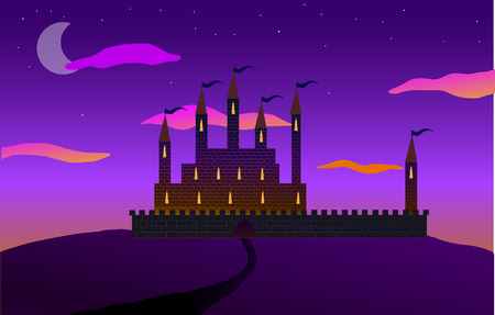 The road to the castle on the hill. Pink sunset, the moon and clouds. Vector