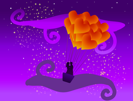 Valentines Day vector illustration. Balloon Heart with couple in love at sunset among the clouds.