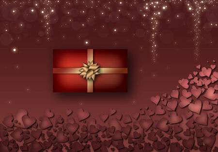 Valentines Day Illustration. Red hearts, red gift box with yellow ribbons, the rain of stars. 版權商用圖片