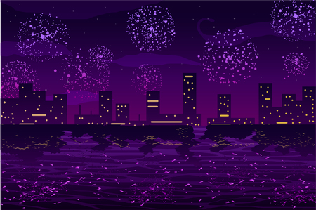 illustration of Salutes and fireworks in night city on the ocean